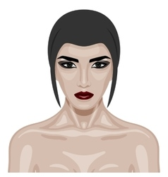 Beauty Woman with dark red Lips and big Eyes vector