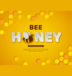 Bee honey typographic design paper cut style vector