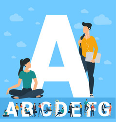 big a letter white letter with young people vector image