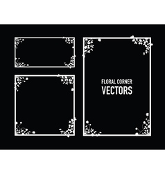 Black floral corners background vector