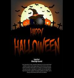 Bowling ball with witch hat and happy hallowen vector