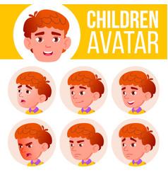 boy avatar set kid primary school face vector image