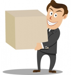 businessman carrying big box vector image