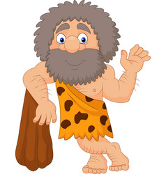 Cartoon caveman waving hand vector