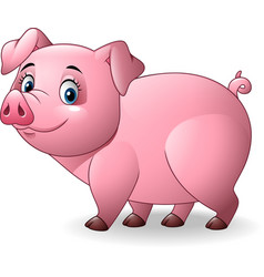 cartoon pig isolated on white background vector image