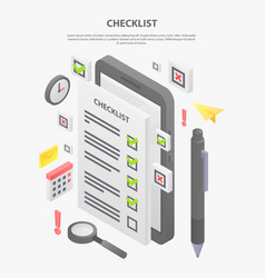 Checklist concept banner isometric style vector