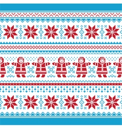 Christmas card - knitted pattern vector
