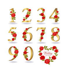 collection floral decorated numbers vector image