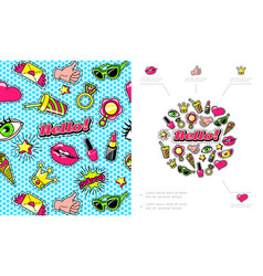 Colorful fashion patches composition vector