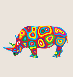 colorfully rhino vector image