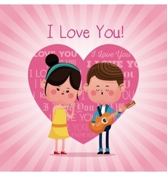 Couple loving serenading i love you pink heart vector