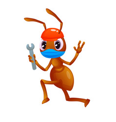 Cute ant with a wrench in hand is running wearing vector