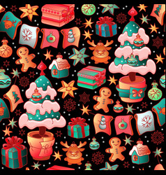 Cute christmas seamless pattern with toys vector