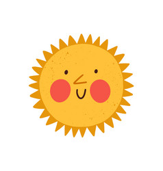 cute happy sun with funny smiling face hot summer vector image