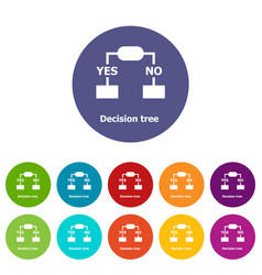 Decision tree icons set color vector