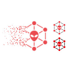 Disappearing dotted halftone alien network icon vector