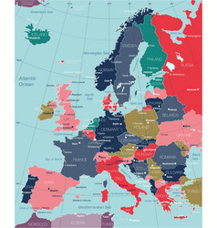 europe detailed editable map vector image