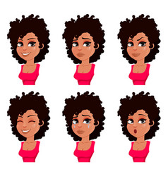 face expressions of african american woman vector image