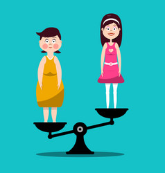 Fat and slim women on scales - flat design vector