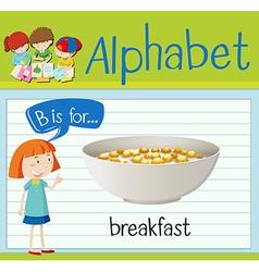 Flashcard letter b is for breakfast vector