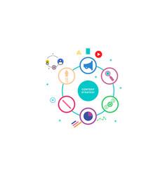 flat design social marketing strategy vector image
