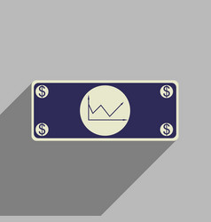 flat web icon with long shadow financial graph vector image