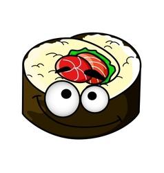 Fun portion of cartoon sushi vector