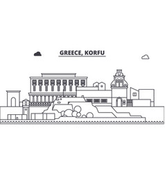 Greece korfu line skyline vector