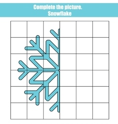 Grid copy game complete the picture educational vector image