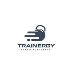 Gym logo with kettlebelll barbel icon simple vector