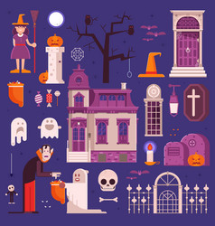 halloween elements and icons collection vector image
