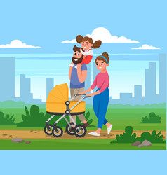 Happy family walking in the park on background of vector