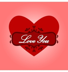 Heart with words love you vector image