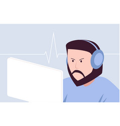 hipster gamer with headset playing game vector image