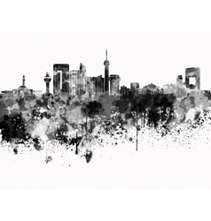Jeddah skyline in black watercolor on white vector
