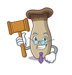 Judge king trumpet mushroom mascot cartoon vector