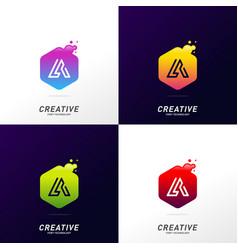 letter a tech with hexagon logo design template vector image