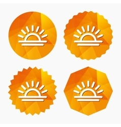 Light on icon Lamp bulb or sunset symbol vector image