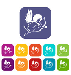 Love cupid icons set flat vector