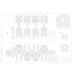 machine building drawing engine car on a white vector image