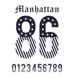 Manhattan set number black white vector