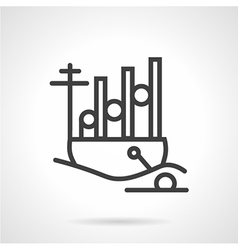 Navy ship simple line icon vector image