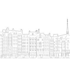 Outline of cityscape Honfleur vector image
