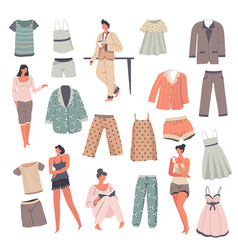 Pajamas collection for male and female sleepwear vector