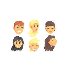 People avatars set face social view vector