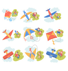 People launching aeromodels and kites set parents vector