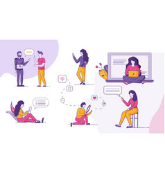 People online communication social network set vector