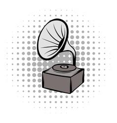 Phonograph grey comics icon vector image vector image