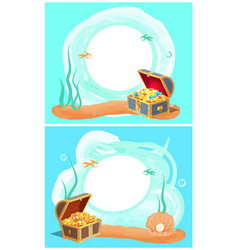 Photo frames with sea bottom and hidden treasures vector