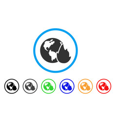 Planet flame rounded icon vector